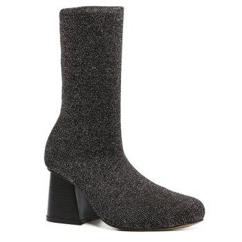 Sequined Square Toe Chunky Heel Sock Boots