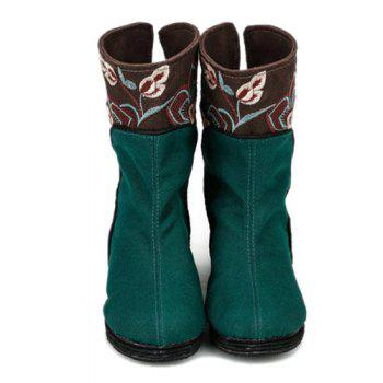 Embroidery Color Block Mid-Calf Boots - 37 37