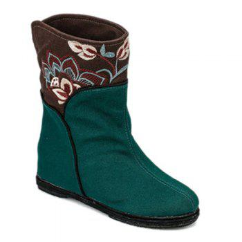 Embroidery Color Block Mid-Calf Boots - GREEN 37