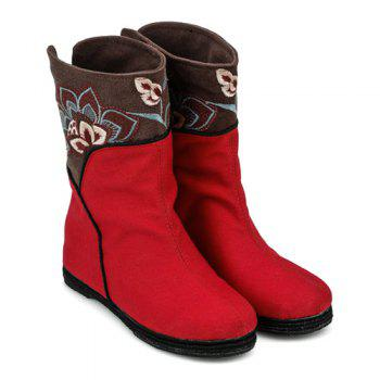 Embroidery Color Block Mid-Calf Boots - RED 40