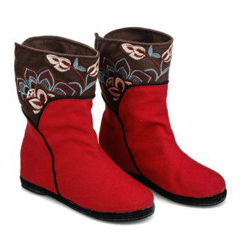 Embroidery Color Block Mid-Calf Boots - 40 40