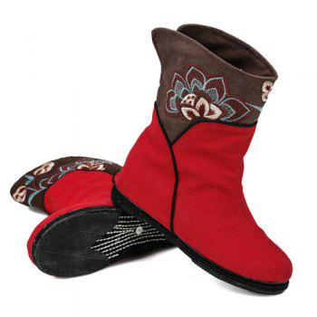 Embroidery Color Block Mid-Calf Boots - RED RED
