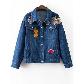 Patched Denim Jacket With Pockets
