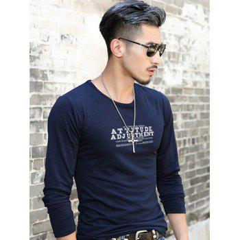 Letter Printed Round Neck Casual T-Shirt - SAPPHIRE BLUE XL