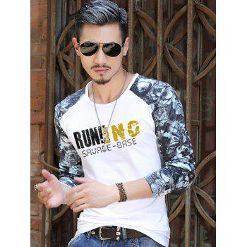 Floral Sleeve Number Letter Printed T-Shirt - WHITE XL