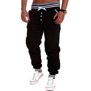 Buttoned Varsity Striped Drawstring Jogger Pants