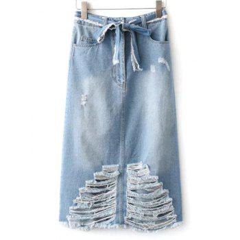Midi Distressed Denim Skirt With Pockets