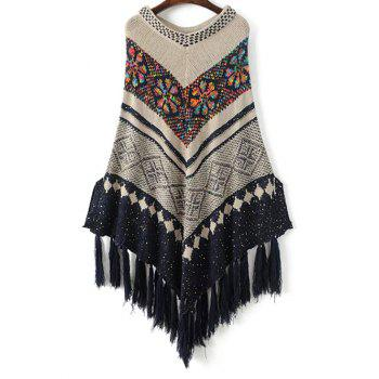 Sequined Jacquard Knit Poncho