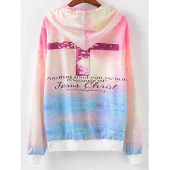 Crucifix Print Hoodie - LIGHT PURPLE XL