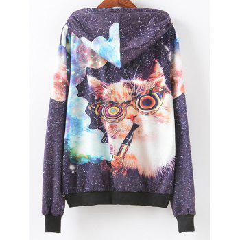 Smoking Cat Print Patterned Hoodies - COLORMIX S