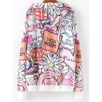 Cartoon Letter Pattern Hoodie - COLORMIX S