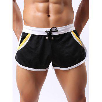 Lace-Up Color Block Splicing Design Home Shorts