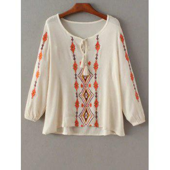 Embroidered Peasant Top With Tie Detail