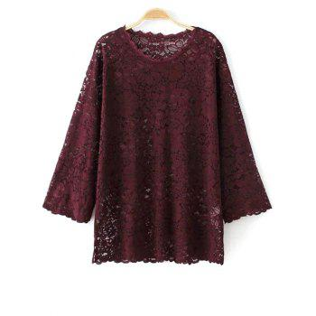 Three Quarter Sleeve Guipure Lace Top