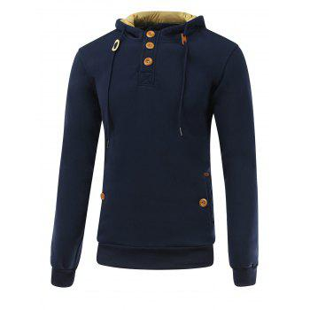 Long Sleeve Elbow Patch Drawstring Pullover Hoodie