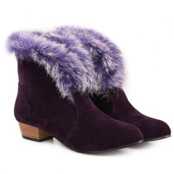 Suede Faux Fur Low Heel Ankle Boots
