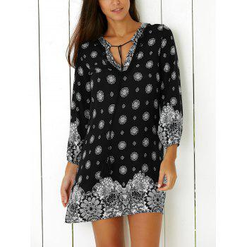 3/4 Sleeve Tribal Print Shift Mini Dress