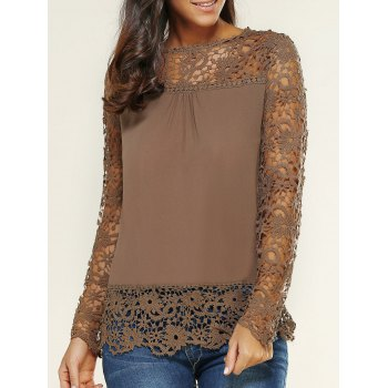 Lace Spliced Floral Crochet Openwork Blouse
