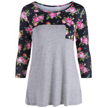 One Pocket 3D Floral Splicing T-Shirt - GRAY GRAY