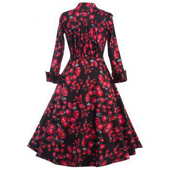 Long Sleeves Floral Print Surplice Dress - BLACK S