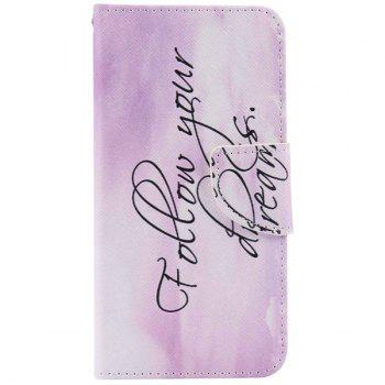 Quote Letter Pattern Wallet Phone Case For iPhone 7 - LIGHT PURPLE LIGHT PURPLE
