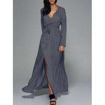 Bohemian Tie Belt High Slit Surplice Dress