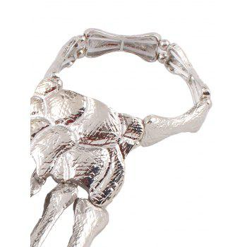 Punk Hand Skeleton Bracelet With Rings - SILVER