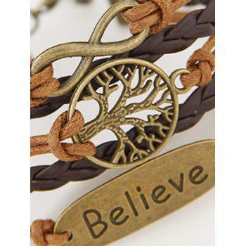 Infinity Tree of Life Letter Layered Bracelet - BROWN
