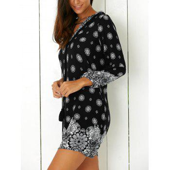 Tribal Print Casual Going Out Shift Dress - BLACK XL
