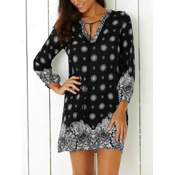 Tribal Print Casual Going Out Shift Dress - BLACK BLACK