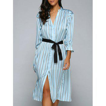 Striped Front Slit Midi Dress With Pockets