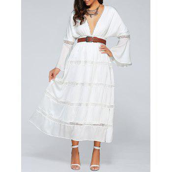 Plunging Neck Flare Sleeve Belted Cut Out Empire Waist Maxi Dress