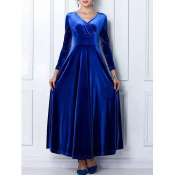 V Neck Velvet Long Formal Dress