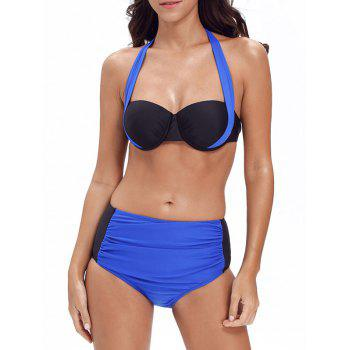 Halter Color Block Push Up Bikini Set