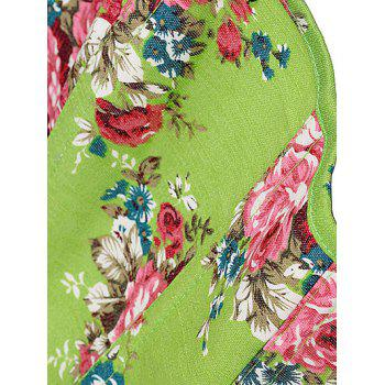 Slim Floral Print Lace-Up Corset - APPLE GREEN M