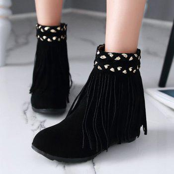 Suede Fringe Hidden Wedge Short Boots - BLACK 38