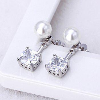 Brief Faux Pearl Square Rhinestone Stud Earrings - WHITE