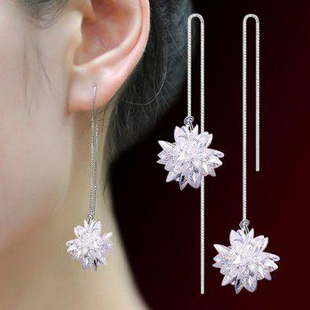 Concise Faux Crystal Flower Chain Earrings - WHITE