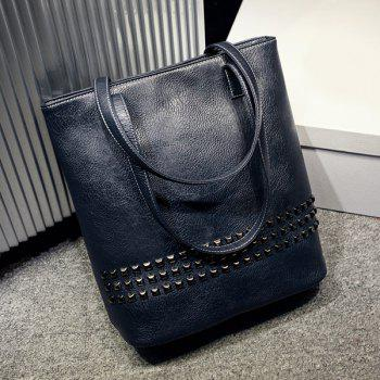 Rivet Embellished PU Leather Shoulder Bag - DEEP BLUE