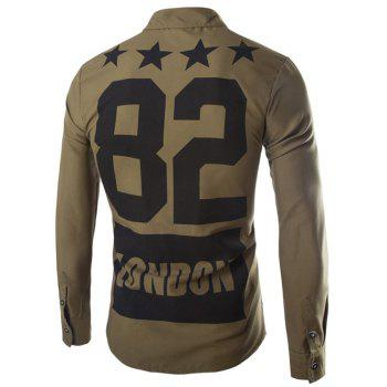 Stars and Letter Printed Long Sleeve Shirt - ARMY GREEN 2XL