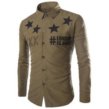 Stars and Letter Printed Long Sleeve Shirt - ARMY GREEN ARMY GREEN