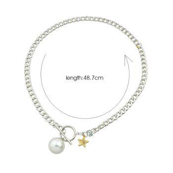 Faux Pearl Toggle Star Pendant Necklace - SILVER