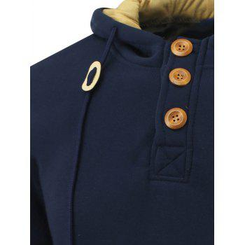 Long Sleeve Elbow Patch Drawstring Pullover Hoodie - DEEP BLUE L