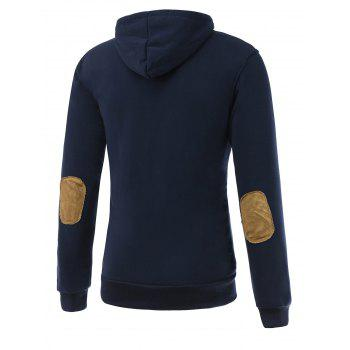 Long Sleeve Elbow Patch Drawstring Pullover Hoodie - DEEP BLUE 2XL