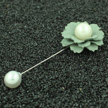 Cosmos Faux Leather Flower Brooch Pin - PEA GREEN