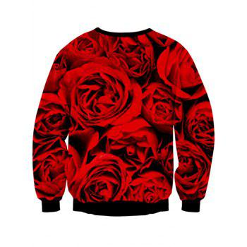Long Sleeve Crew Neck Rose Skull 3D Print Sweatshirt - RED / BLACK M