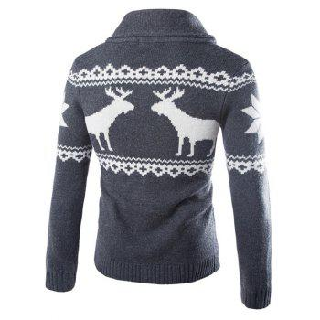 Ethnic Style Elk Print Turn-Down Collar Single-Breasted Cardigan - DEEP GRAY M