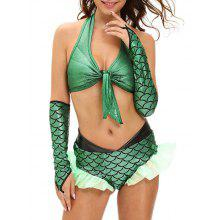 Ruffled Scale Mermaid Halter Cosplay Suit
