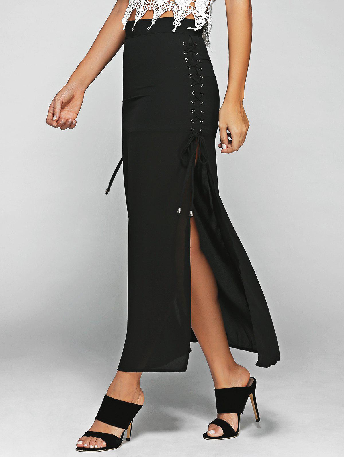 High Waist Lace-Up High Slit Maxi Skirt high waist lace up high slit maxi skirt