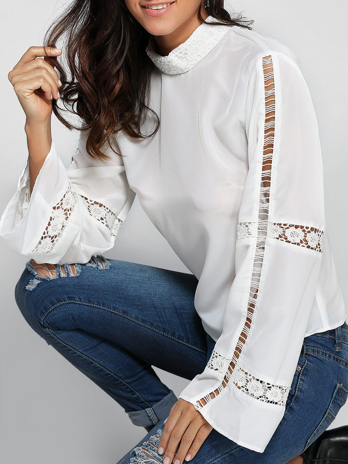 Flare Sleeve Crochet Trim High Neck Blouse - WHITE XL